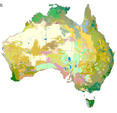 Map showing projected distributions of vegetation types derived by the AdaptNRM project by linking an ecological similarity model, developed for vascular plants, with an existing vegetation map and climate scenarios
