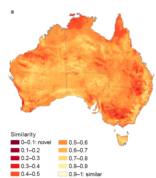 Map showing degree to which environmental conditions are projected to become sufficiently novel by 2050 to potentially result in the emergence of vegetation communities containing combinations of plant species highly dissimilar from any present-day commun