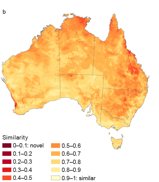 Map showing degree to which environmental conditions are projected to become sufficiently novel by 2050