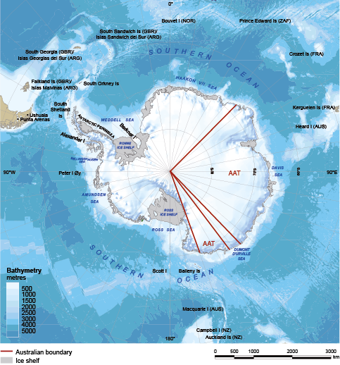 A map of Antarctica showing the 2 areas that make up the Australian Antarctic Territory. The territory takes up more than one-third of the continent's land area.