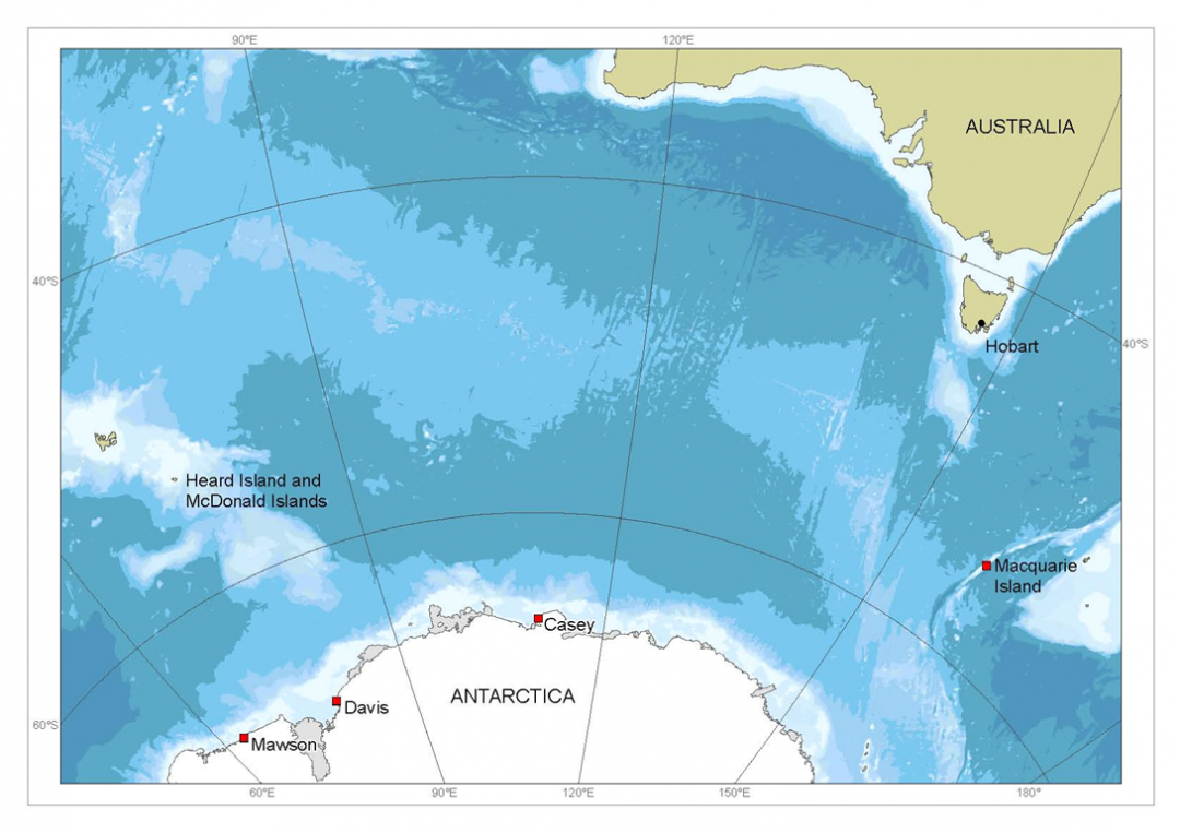 A map of the tip of Antarctica located to the south of Australia, showing the positions of Casey, Davis and Mawson stations, which are all located along the coastline.